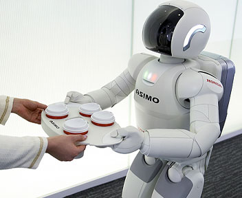 ASIMO serves coffee